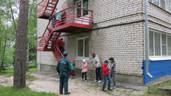 Тренировочная эвакуация в лагере