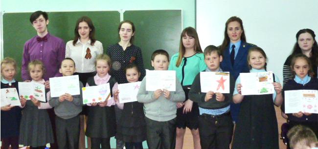 Сотрудники ковровской прокуратуры провели для первоклашек мастер-класс по изготовлению открыток ко Дню Победы